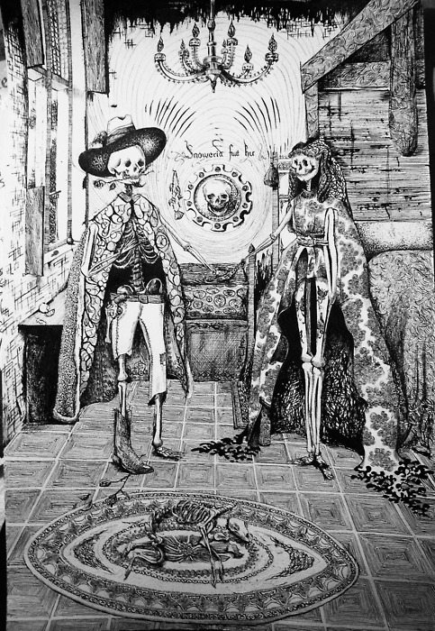 Jose Guadalupe's version of Jan Van Eyck's Marriage of Arnolfini