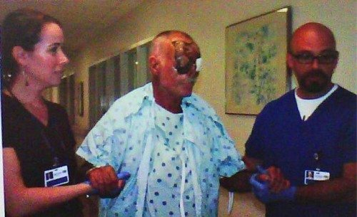 Ronaldo Poppo man who got is face eaten in Miami is up walking and alert. Hope this dude pulls through Please share this