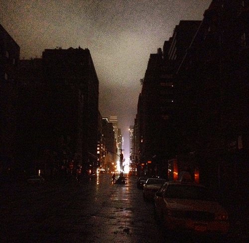 Lower Manhattan is going dark, but Times Square still has power. Hurricane Sandy