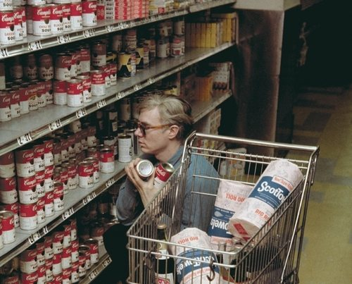 Andy Warhol at Gristede's supermarket, New York (1962)