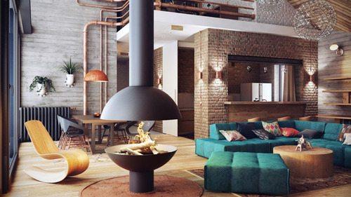 Industrial Elegant Loft Designed by Alexander Uglyanitsa | DesignRulz)