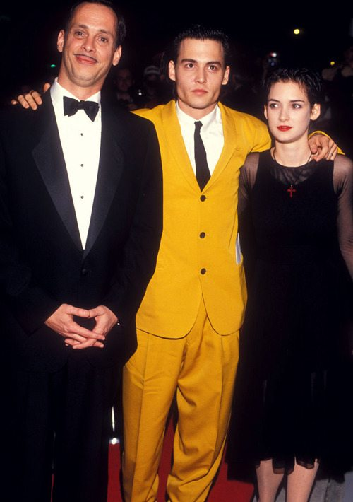 John Waters, Johnny Depp and Winona Ryder at the Cry Baby premiere, 1990