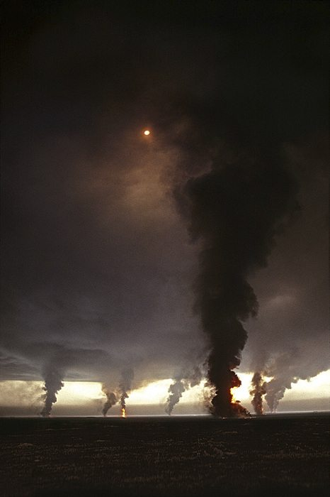 Burning oil field, Ahmadi Oil Fields, Kuwait, 1991